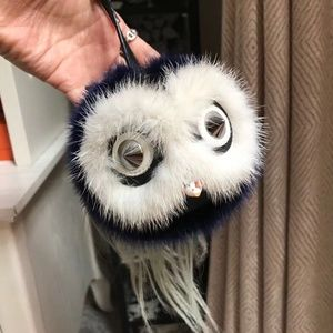 Blue Mink Fox Fur Birgami Monster Bag Bug Charm